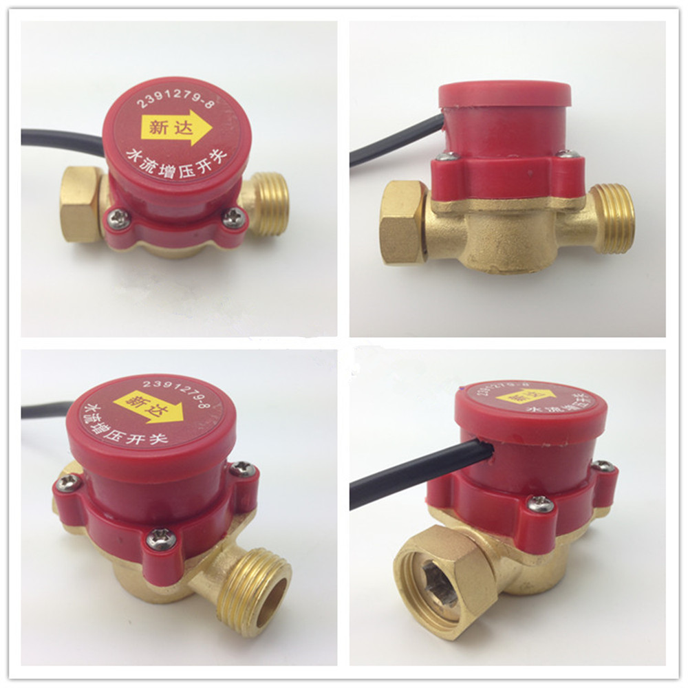 1PCS 120/260W 1/2 3/4 1 Female to 1/2 3/4 1 Male Circulation Pump Water Flow Sensor Switch ksol new style 26mm 3 4 pt thread connector 120w pump water flow sensor switch