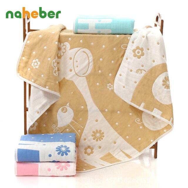 Дышащий Детские Одеяла для Кроватки Коляски Мягкая Новорожденный Банное Полотенце 6 Слоев Марли Хлопка Корона Животных Младенческой Пеленальный