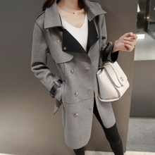 2016 New Style Women Autumn Winter Suede Trench Casual Mid-Long Style Slim Outerwear Gray Turn-Down Collar Cardigan Coat D0526