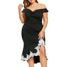 Plus Size Off The Shoulder Mermaid Dress Women Black Robes Short Sleeves Lace Party Dress Vestidos 5XL