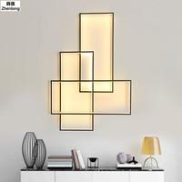 Современные прямоугольник Алюминий dimmable настенный светильник Гостиная настенные светильники светодиодные Спальня привело настенный свет