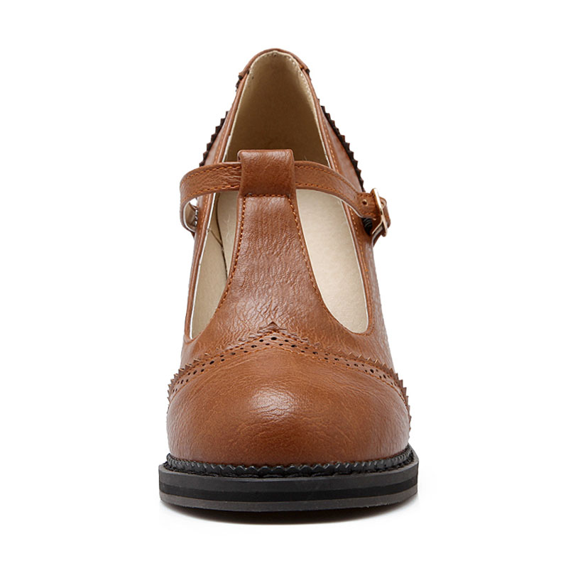 5b47d9923d1 Fanyuan Women Shoes High Heel Pumps T Strap Vintage Round Toe Ladies ...