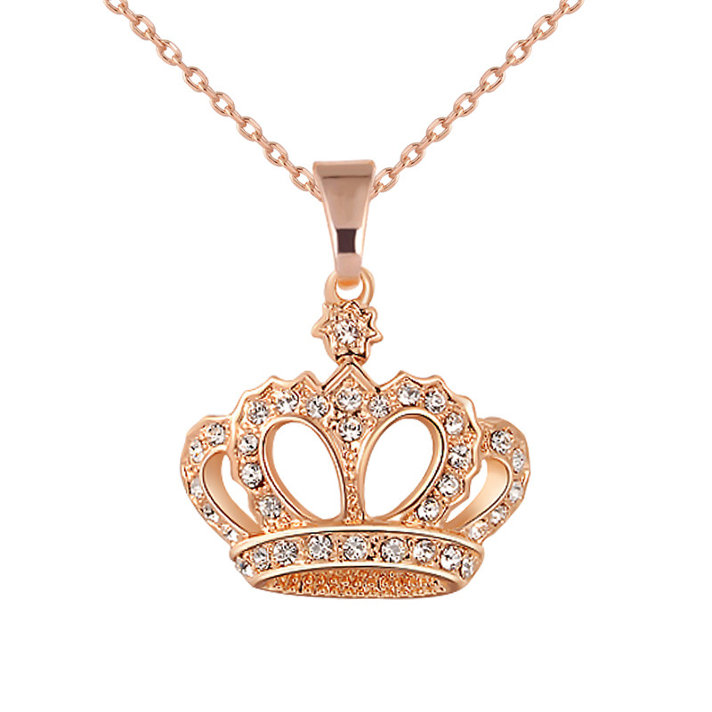 Women Necklace Alloy Chain Choker Crystals Crown Pendant Necklaces Girl Jewelry Gift CX17(China)
