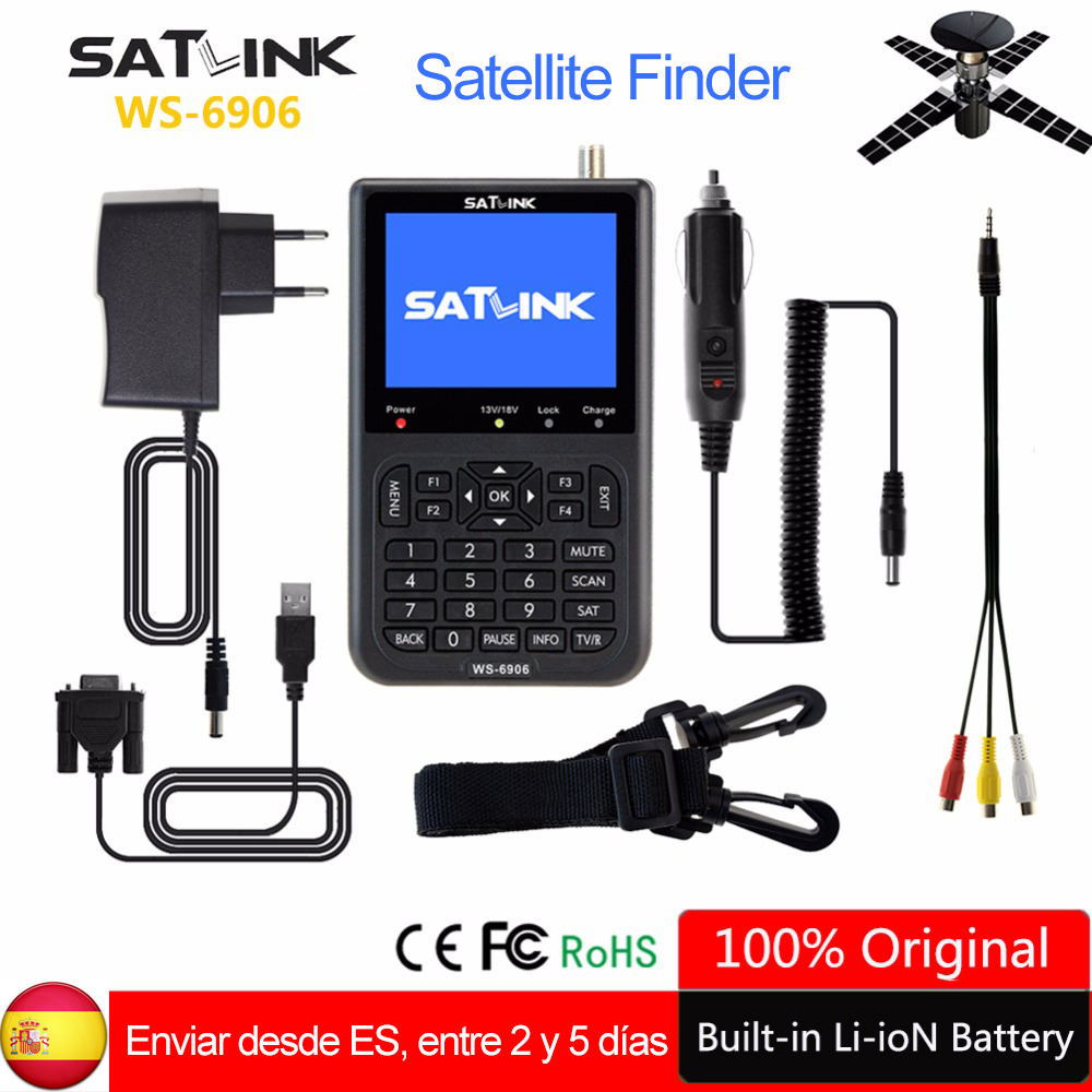 Original Satlink Satellite Finder WS-6906 3.5 Inch LCD Display DVB-S lnb portugal Spain WS 6906 satlink Digital Satellite Finder satlink ws 6979se dvb s2 dvb t2 mpeg4 hd combo spectrum satellite meter finder satlink ws6979se meter pk ws 6979