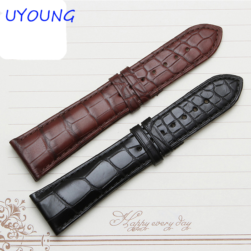 22mm Black Brown Crocodile Watchband High Quality Bamboo Shaped Men Watch accessories Bracelet Brand General все цены