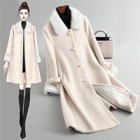 Women 2019 Winter Beading Real Fur Coat Sheep Shearing Long Coat Clothes Female Natural Lamb Fur Wool Jacket Abrigos Mujer K301