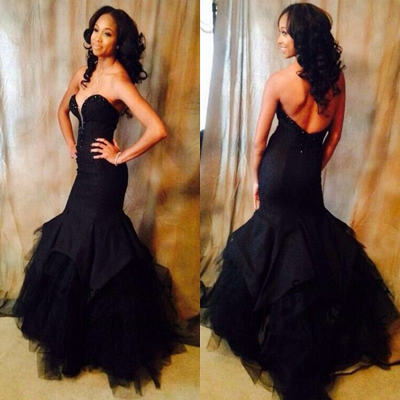 Online Buy Wholesale all black mermaid prom dress from China all ...