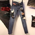 Das Mulheres da forma calças de Brim Das Senhoras Laço Floral Calça Jeans de Cintura Alta Oco Out Casual das Mulheres Denim Calças Lápis Jeans Skinny Mulher