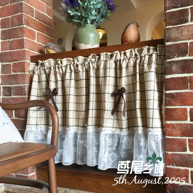 Aliexpress.com : Buy American Country Lace Kitchen Curtains Short ...