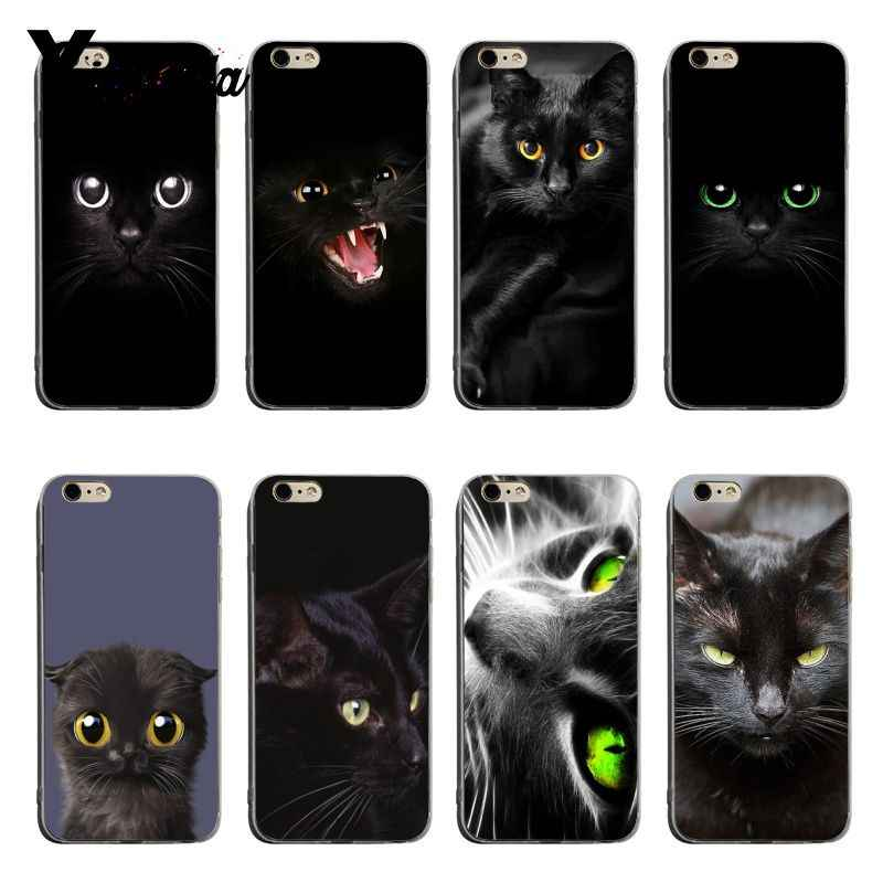 Yinuoda Black Cat Staring Eye transparent soft tpu phone case cover For iPhone 6plus 6s 7plus 8plus X XS XR Coque Shell