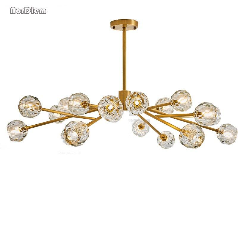 Nordic crystal chandelier postmodern designer chandeliers American living room bedroom dining room molecular hanging lamp