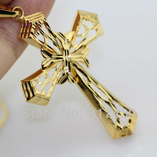 Free shipping 3pcslots 18k gold filled necklace jesus christ free shipping 3pcslots 18k gold filled necklace jesus christ crucifix filigree cross pendant men aloadofball Image collections