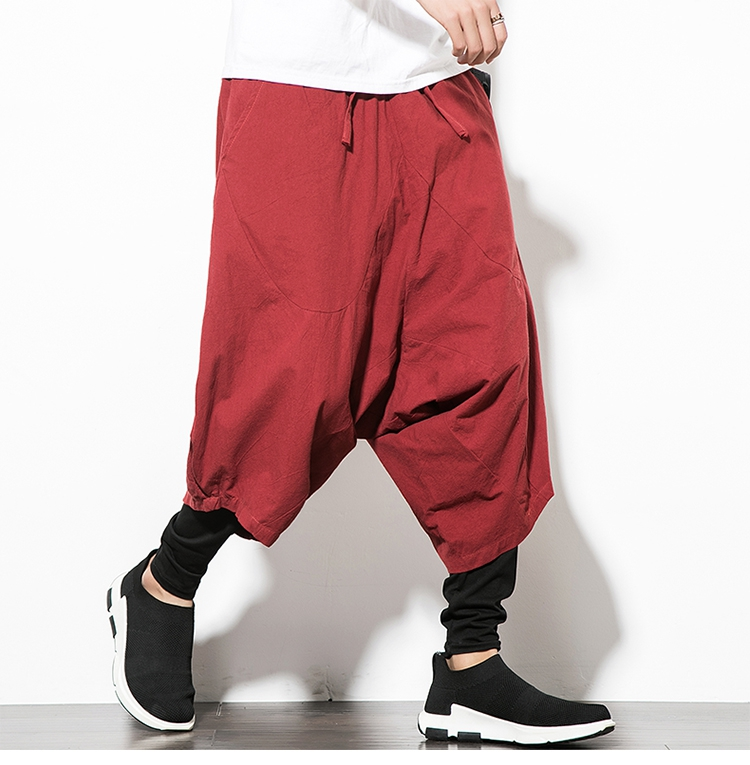 MRDONOO Men Pants Men's Wide Crotch Harem Pants Loose Large Cropped Trousers Wide-legged Bloomers Chinese Style Flaxen Baggy 121