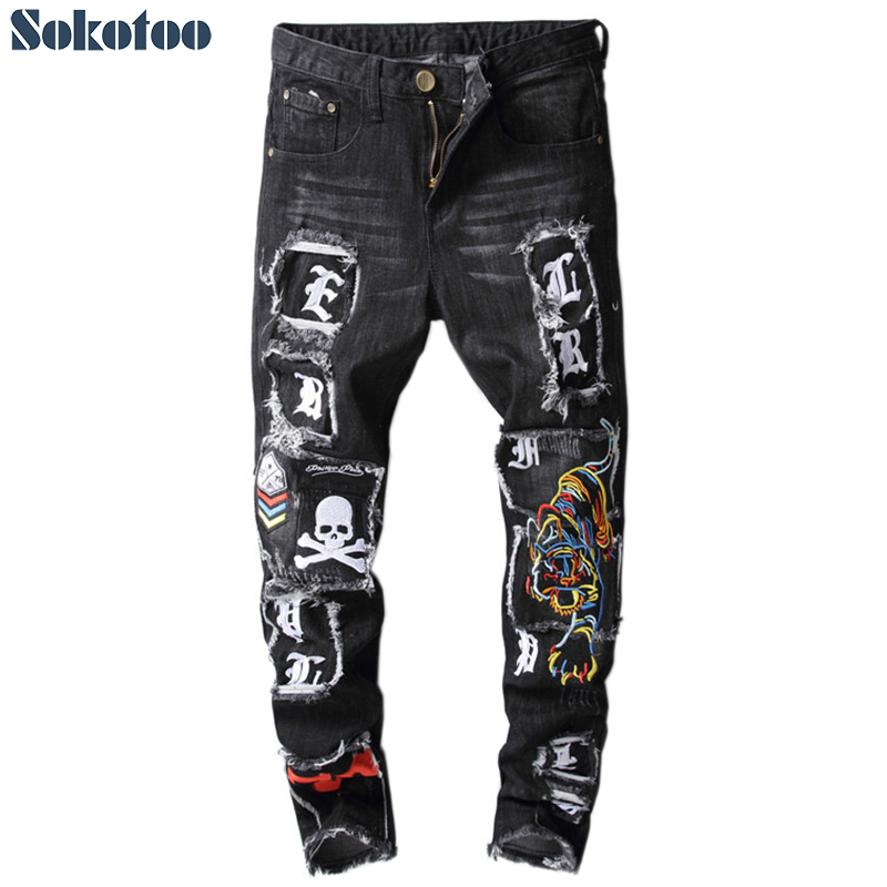 Sokotoo Men's Letters Skull Printed Tiger Embroidery Black Jeans Fashion Slim Fit Patch Patchwork Colored Denim Pants