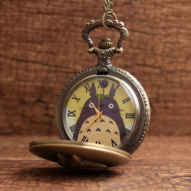 Antique Bronze My Neighbor Totoro Anime Pocket Watch Necklace Retro Quartz Flip Fob Clock Chain Vintage Pendant For Men Women