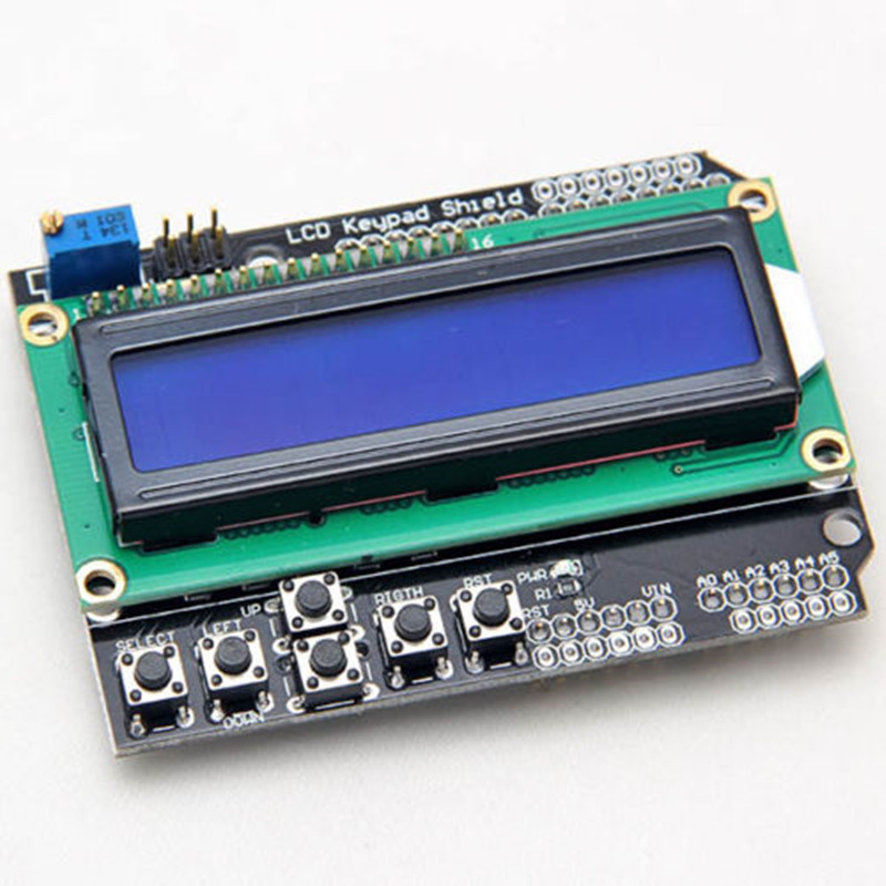 1602 LCD Keypad Shield For Arduino 16x2 5V Blue Backlight Module Display With White Word Display For ATMEGA328 ATMEGA2560 UNO