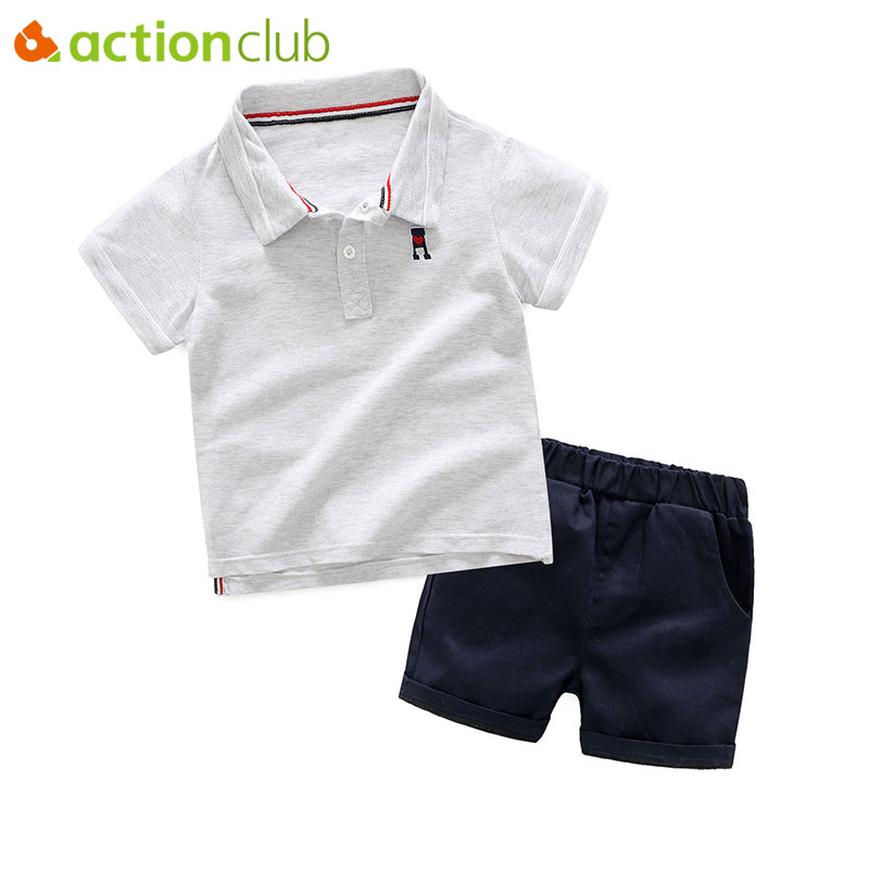 Actionclub Baby Boys Summer Clothing Set Cute Solid T-shirt Pants Kids Cotton Clothes Boys Spring Summer Tops Trousers