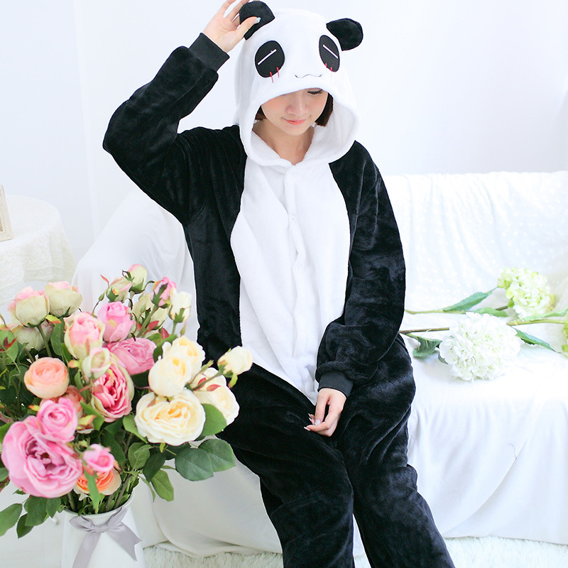 One Piece Flannel Panda Character Pajamas Animal Home Autumn And Winter Cartoon Long-Sleeves Pajama Suits For Couples