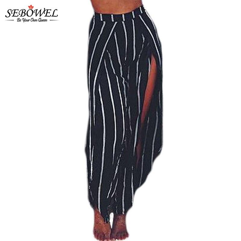 Sebowel Summer Beach Black White Stripe Open Wide Leg