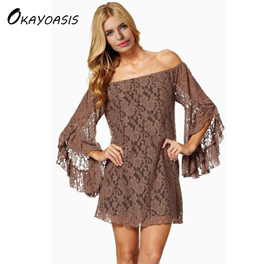 OKAYOASIS Slash Neck Wholesale Women Mini Lace Dress Off The Shoulder Casual Party Sexy Dresses