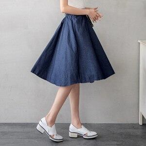 Image 3 - женская юбка миди с джинсовым поясом SURMIITRO, юбка длинная до колен в корейском стиле для женщин летом