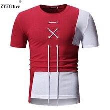 купить 2019 New men's summer T-shirt O-neck casual short sleeve t- shirt riband decoration patchwork color t-shirts for men US size дешево