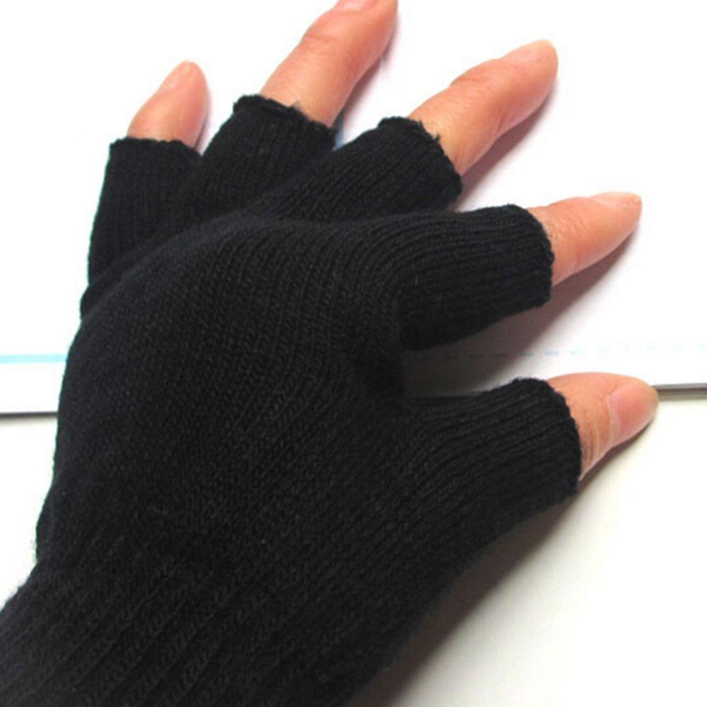 1 Pair Elastic Stretch Knit Warm Half Finger Gloves Thermal Warm Half Finger Fingerless Gloves Mitten Gloves Without Mitten