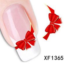 New Bowtie Design Adhesive Nail Art Stickers Water Transfer Sticker For Nails Bows Nail Art Water Decals Nails Supplies