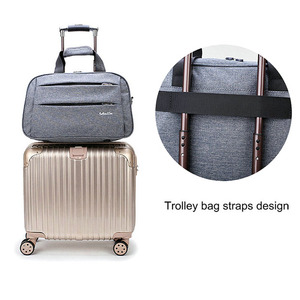 Image 3 - Luggage travel bags Waterproof canvas men women big bag on wheels man shoulder duffel Bag black gray blue carry on cabin luggage