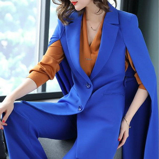 2018 Spring Office Lady Long Trench Coat Cloak Shawl Coatand Wide Pants Suit Women's Fashion Bule Two Pieces Set