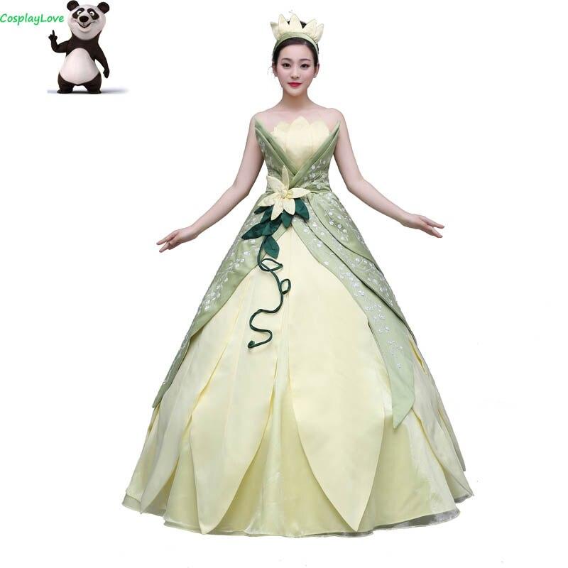 04e6f857196 Cheap CosplayLove La princesa y la rana Cosplay chico princesa Tiana del  vestido del traje de