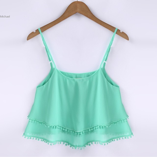 6b08553bc879b Summer Women Sexy Strap Tank Top Sleeveless White Green Chiffon Vest Crop  Top Double Layer Beach Camis Blusas S-XL u2