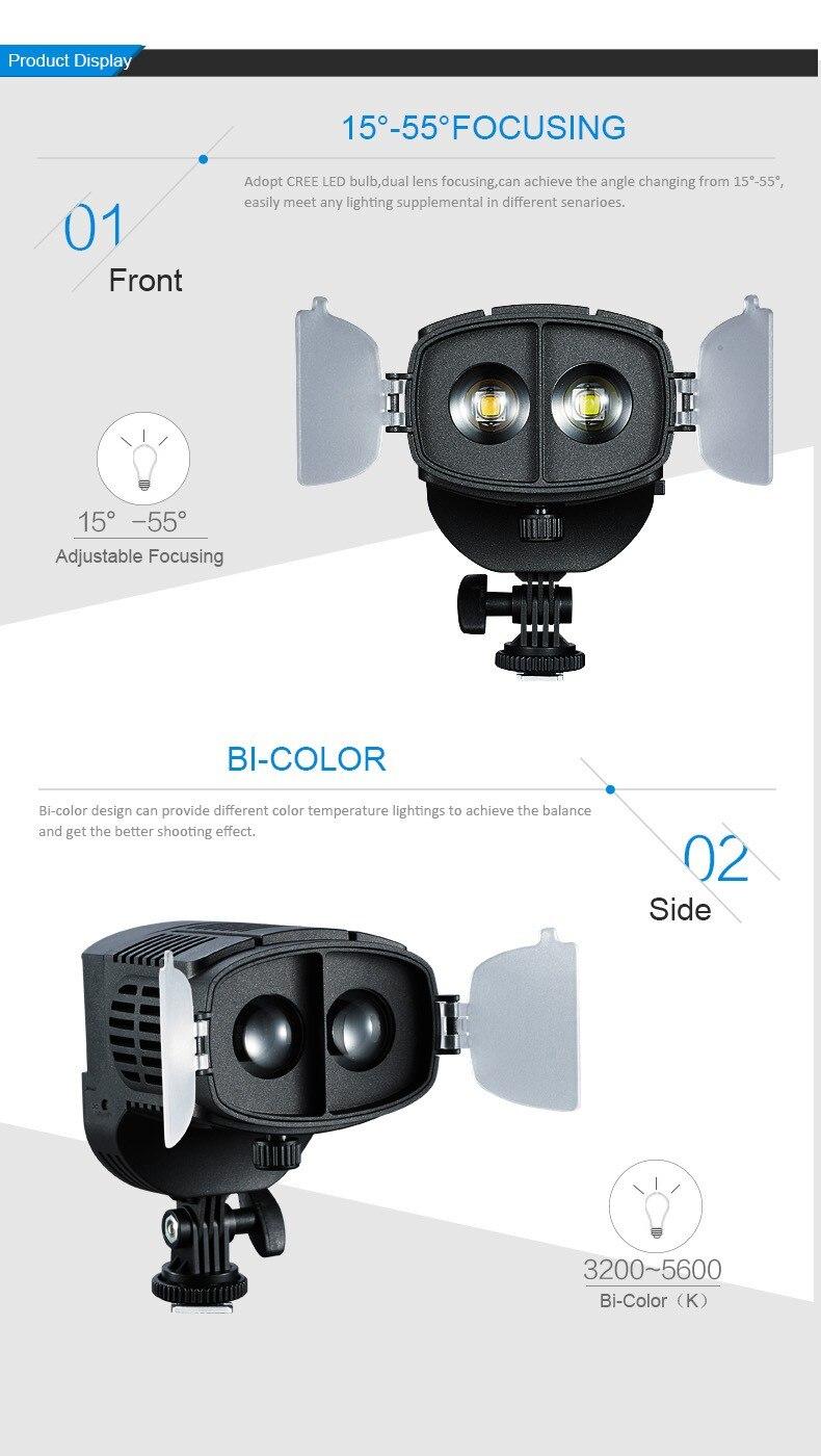 LED דו-צבע 3200K 5600K Focusable פרסנל על המצלמה הזרקורים גבוהה CRI
