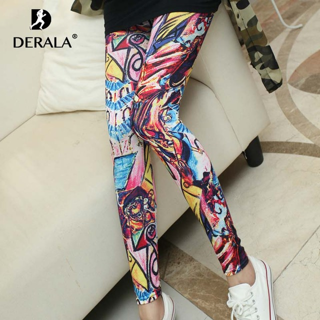 fc003544104fa Derala Women Comic Leggings Printed Leggins High Stretch Girl Legging Punk  Rock Leggin Disco Pants Evening