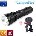 UniqueFire 5 режимов черный фонарик UF-1507 20 мм выпуклая линза XM-L2 белый свет светодиодный фонарик + держатель для велосипеда Бесплатная доставка