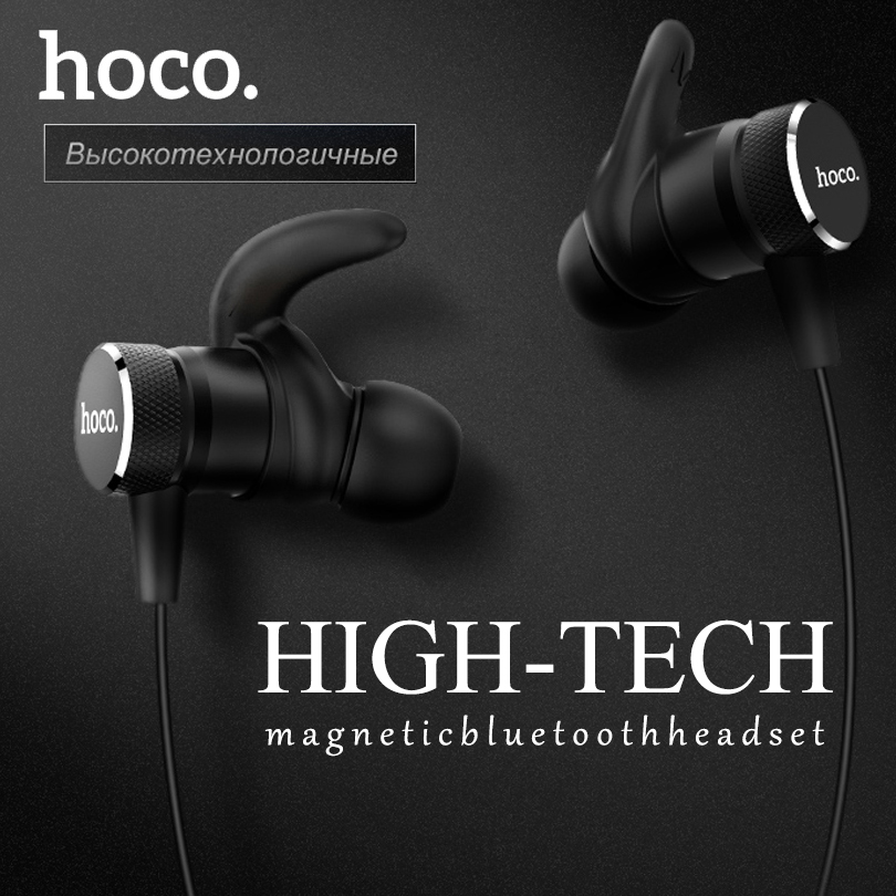 HOCO Original Magnetic Bluetooth Earphones Wireless Headset with Mic for iPhone Xiaomi Stereo In Ear Hook Earbuds Sports Running boas car driver bluetooth earphone wireless handsfree handphone base charger dock in ear hook headset with mic for iphone xiaomi