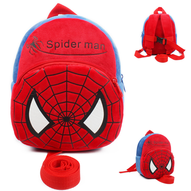 Spiderman Baby Harnesses Leashes Baby Walking Wings Anti-lost Bag School Bag Children Plush Backpack