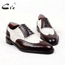 Cie dedo do pé redondo marrom branco sob medida dos homens sola de sapato personalizado handmade 100% genuíno couro de bezerro oxford sapato dos homens respiráveis ox438