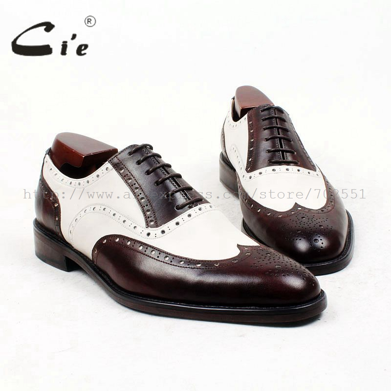 cie round toe brown white bespoke men shoe custom handmade 100%genuine calf leather outsole breathable men's oxford shoe ox438