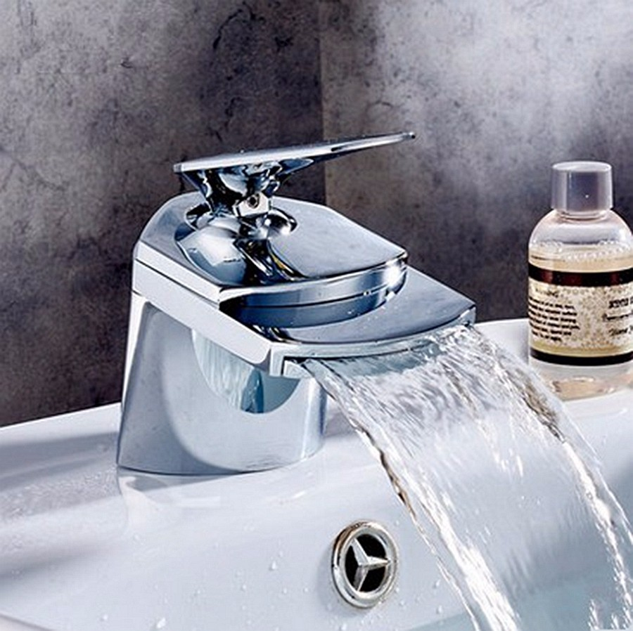 contemporary bathroom basin sink faucet single holder single hole with brass hole cover plate chrome New Single Handle Chrome Brass Big Waterfall Bathroom Basin Faucet Single Handle Hole Sink Mixer Tap