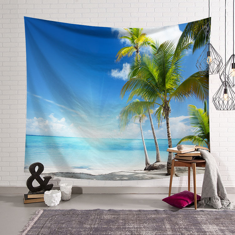 Image 2 - CAMMITEVER Blue Sky White Cloud Sea Beach Coconut Tapestry Wall Hanging Scenic Tapestries Bedspread Picnic Bedsheet Blanket-in Tapestry from Home & Garden