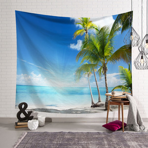 Image 2 - CAMMITEVER Blue Sky White Cloud Sea Beach Coconut Tapestry Wall Hanging Scenic Tapestries Bedspread Picnic Bedsheet Blanket