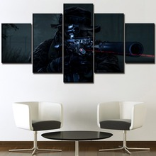 Home Decorative Pictures One Set On Canvas Print Poster Wall Art 5 Pieces Game Sniper Battlefield 4 Night Operations Painting