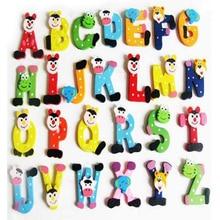 26 шт. деревянный мультфильм алфавит A-Z магниты детская обучающая игрушка мода