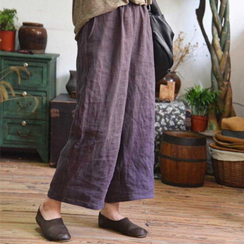 Women Vintage Cotton Linen Solid high Waist   Wide     Leg     Pants   Ladies Casual Loose Elastic Waist Ankle-Length Long Trousers Spring