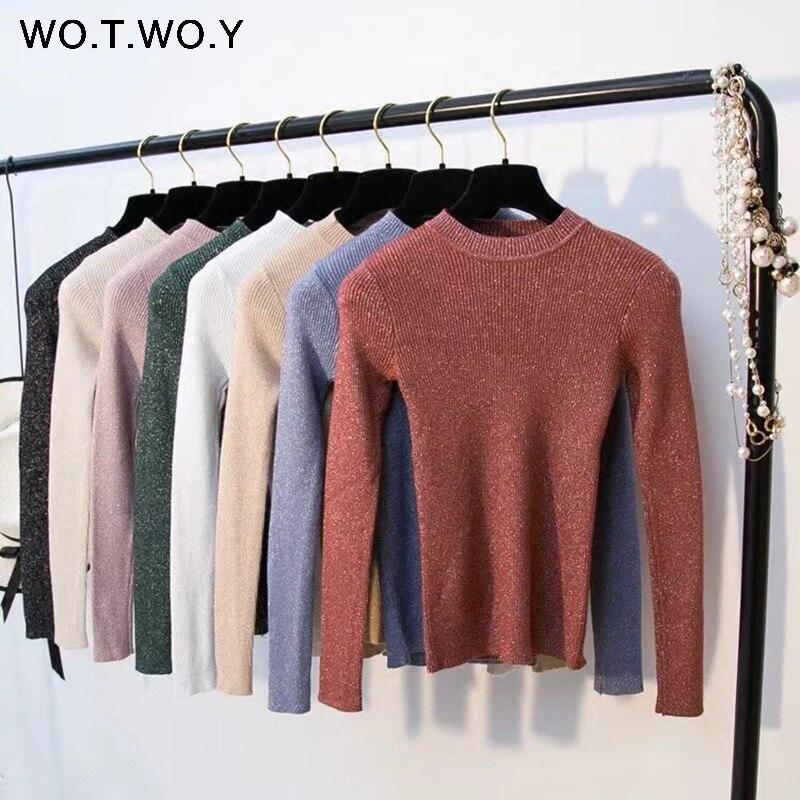 WOTWOY brillante Lurex Otoño Invierno suéter mujeres de manga larga Pullover mujeres suéteres básicos mujeres 2018 estilo coreano Knit Tops Femme