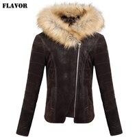 Для женщин из свиной кожи натуральной Кожаная куртка мотоцикла Пояса из натуральной кожи куртка с капюшоном меховая шапка теплая куртка Дл