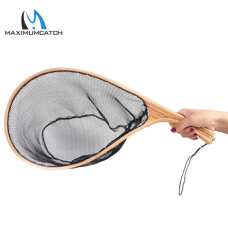 Maximumcatch Fly Fishing Landing Net Nylon Trout Catch and Release Net with Curve Wood Handle Tenkara Net starfish fishing net wood grain nautical shower curtain page 6