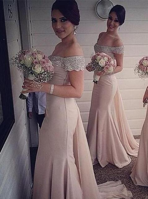 ורוד זול שמלות שושבינה תחת 50 בת ים כבוי כתף שיפון חרוזים ארוך שמלות חתונה נשים