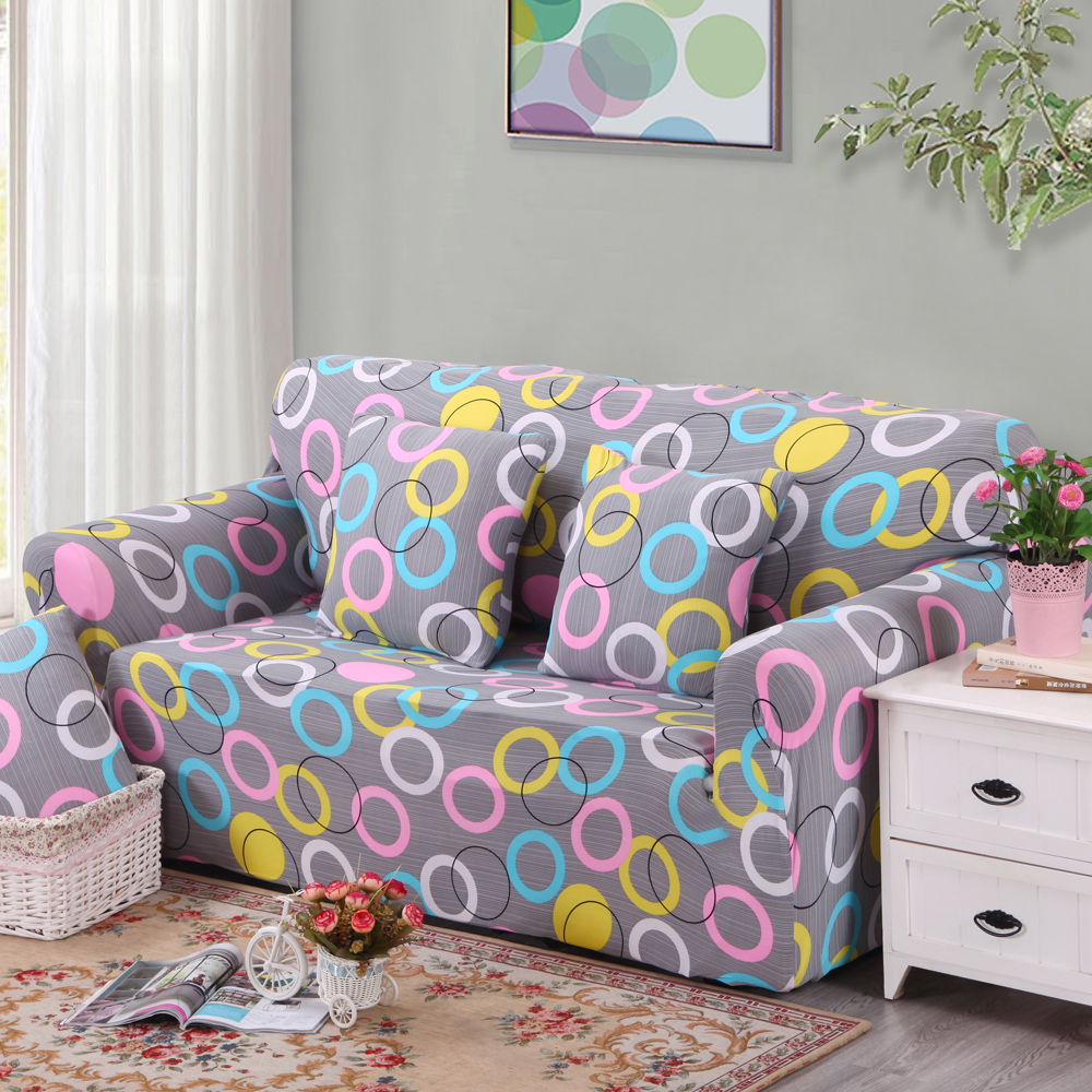 Elastic Couch Arm Chair Loveseat Chaise Three Seater Sectional Corner Sofa  Cover Circle Pattern(China